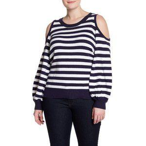 Stripe Cold Shoulder Sweater (Plus Size)